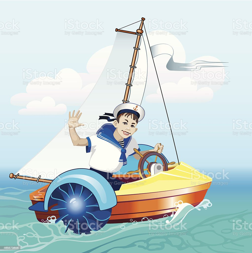 Boy in the boat under sail royalty-free stock vector art
