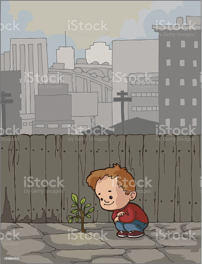 Boy in the City royalty-free stock vector art