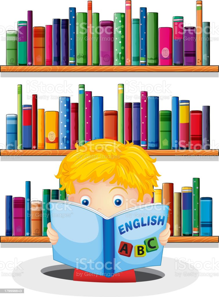 Boy in the library reading an English book royalty-free stock vector art