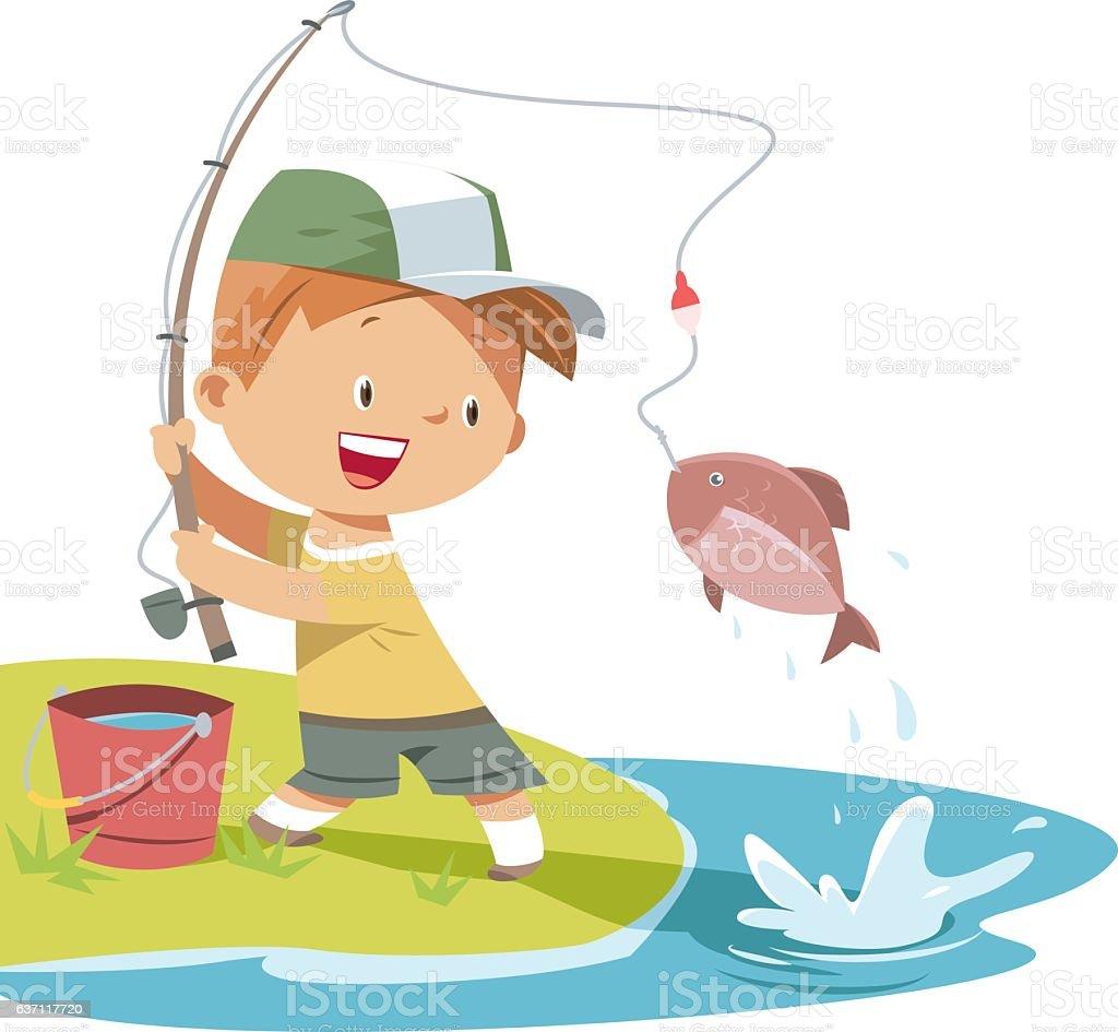 Boy is fishing vector art illustration