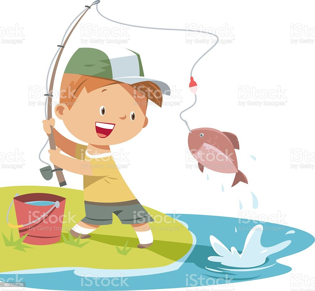 Boy is fishing vector art illustration