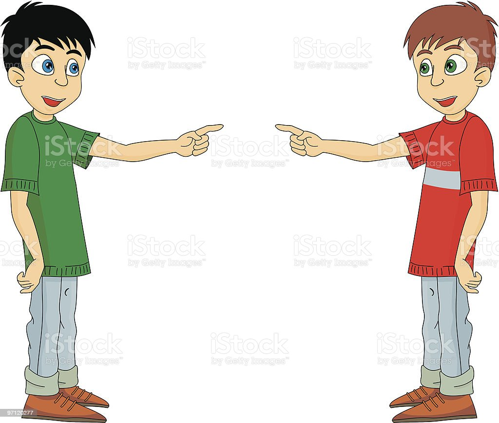Boy is pointing by finger cartoon vector royalty-free stock vector art