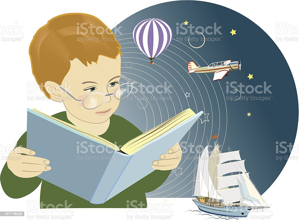 Boy is reading a book royalty-free stock vector art