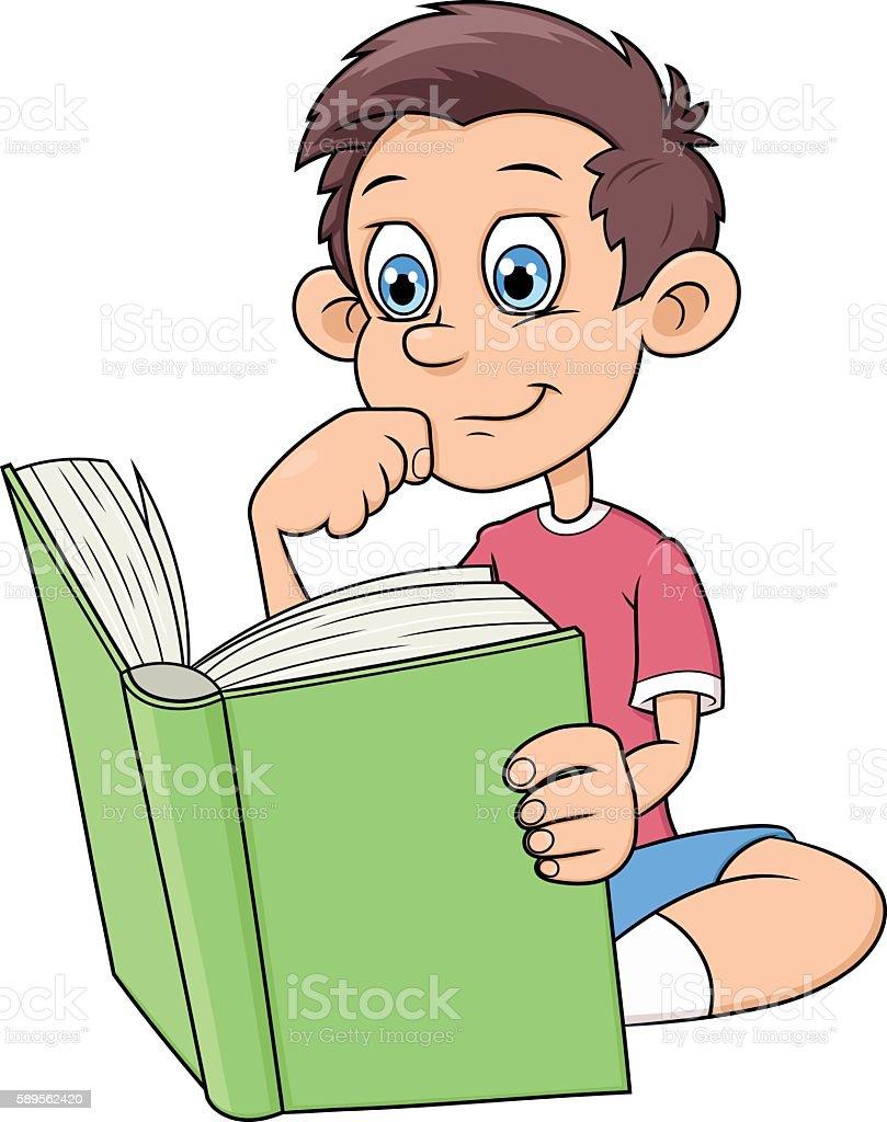 Niño Leyendo Un Libro Es Illustracion Libre de Derechos 589562420 ...