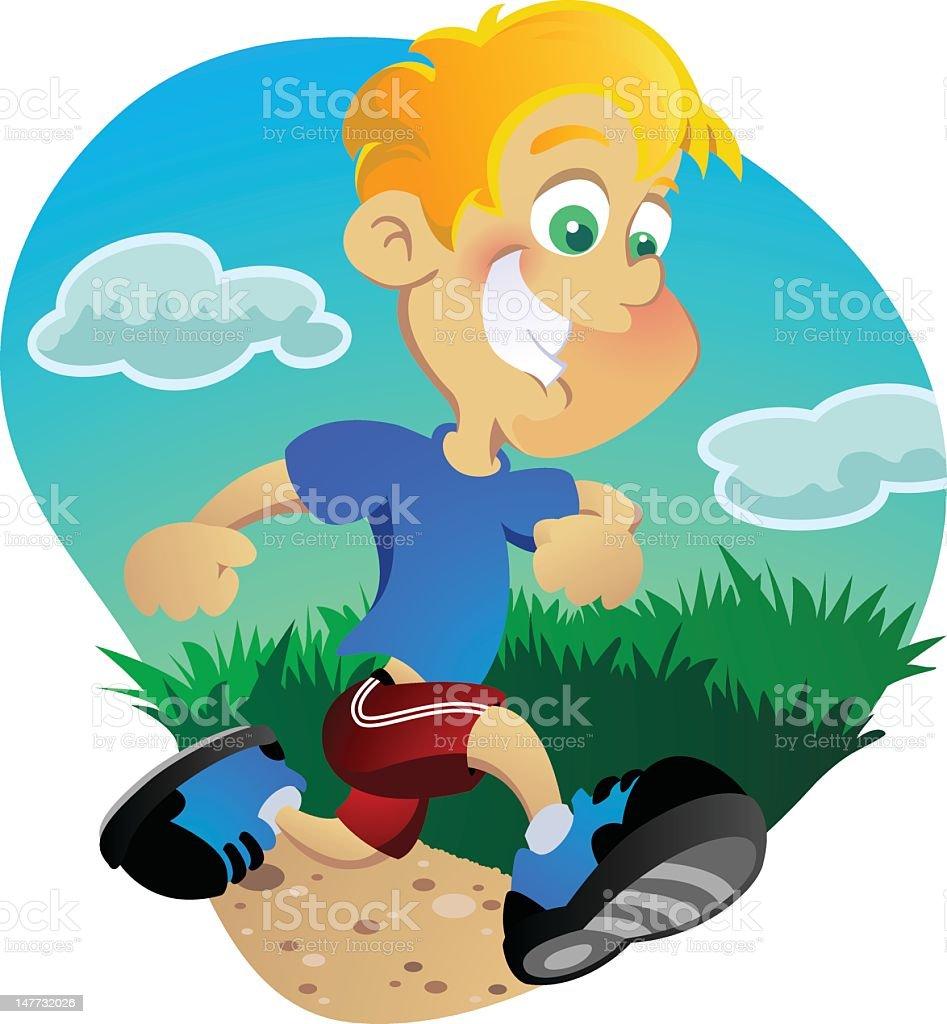 Boy Jogging Outside vector art illustration