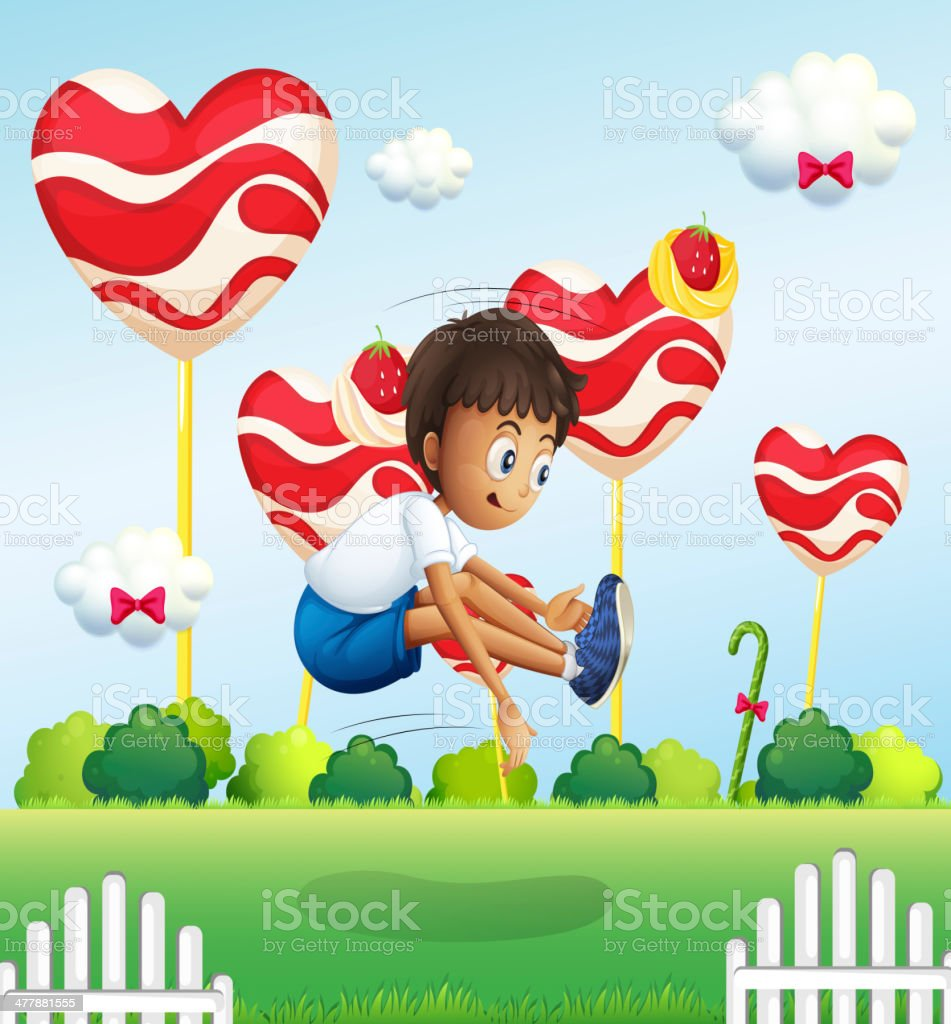 Boy jumping in the field with giant lollipops royalty-free stock vector art