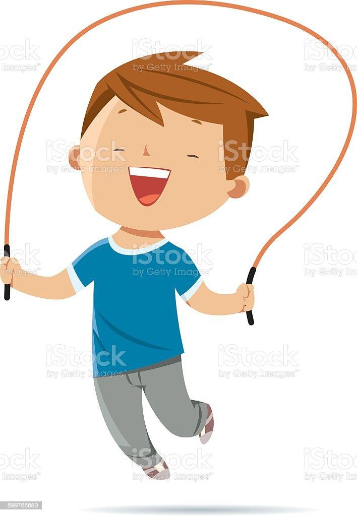 Boy jumping rope vector art illustration