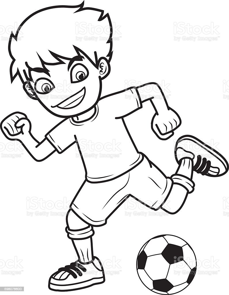 boy kick ball vector art illustration