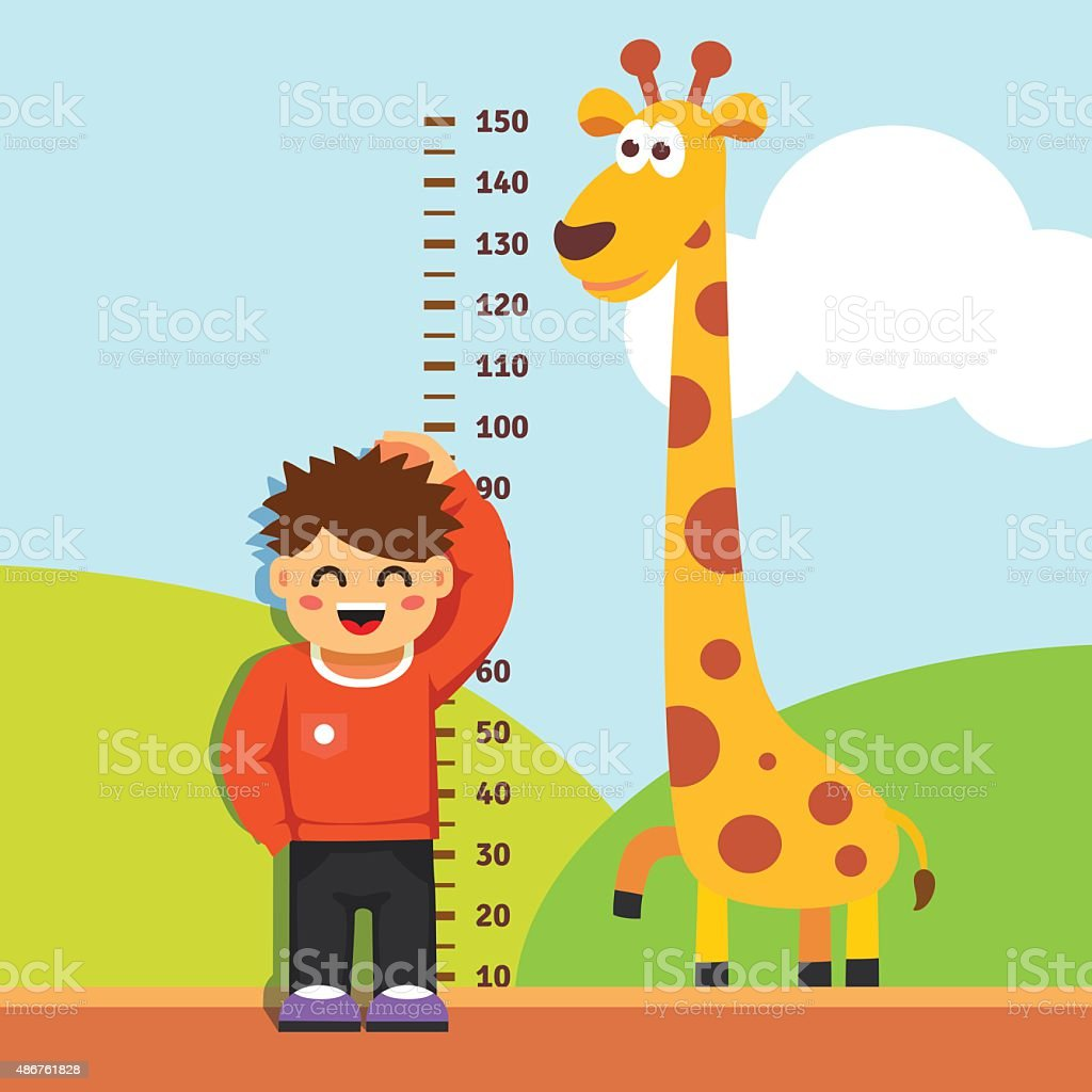 Boy kid measuring his height at kindergarten wall vector art illustration