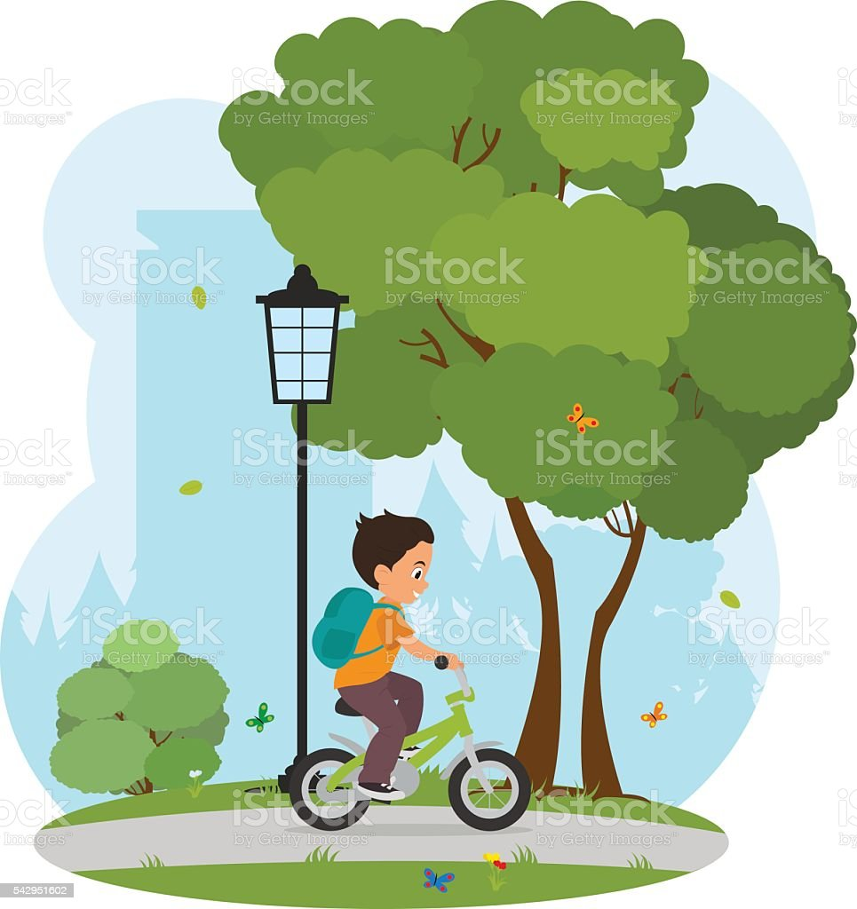 Boy learning to ride his bike home from school vector art illustration
