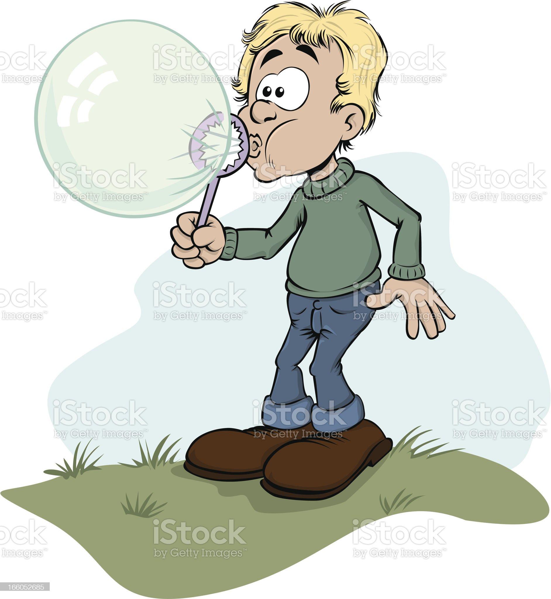 Boy makes a bubble. royalty-free stock vector art
