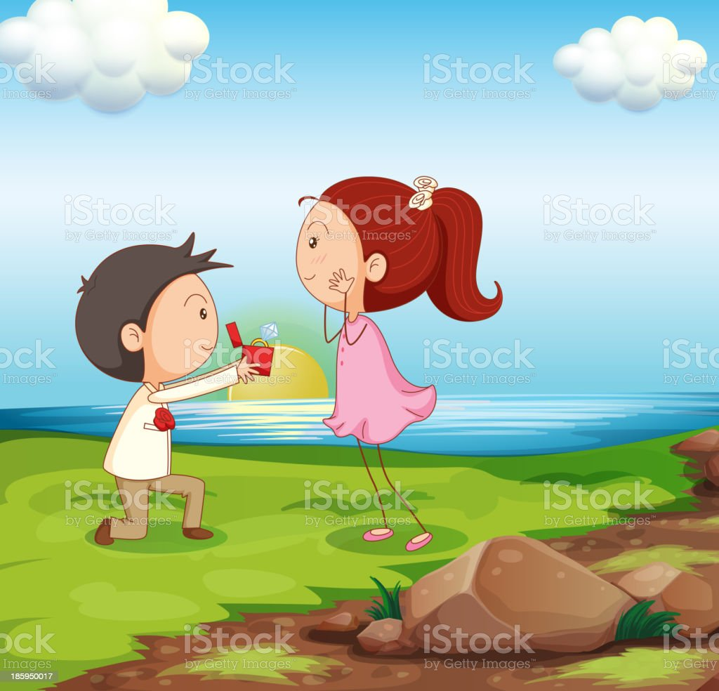 boy making a marriage proposal at the riverbank royalty-free stock vector art