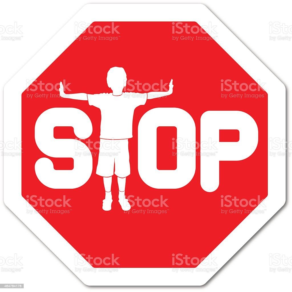 Boy making a t-shape with body on a stop sign vector art illustration
