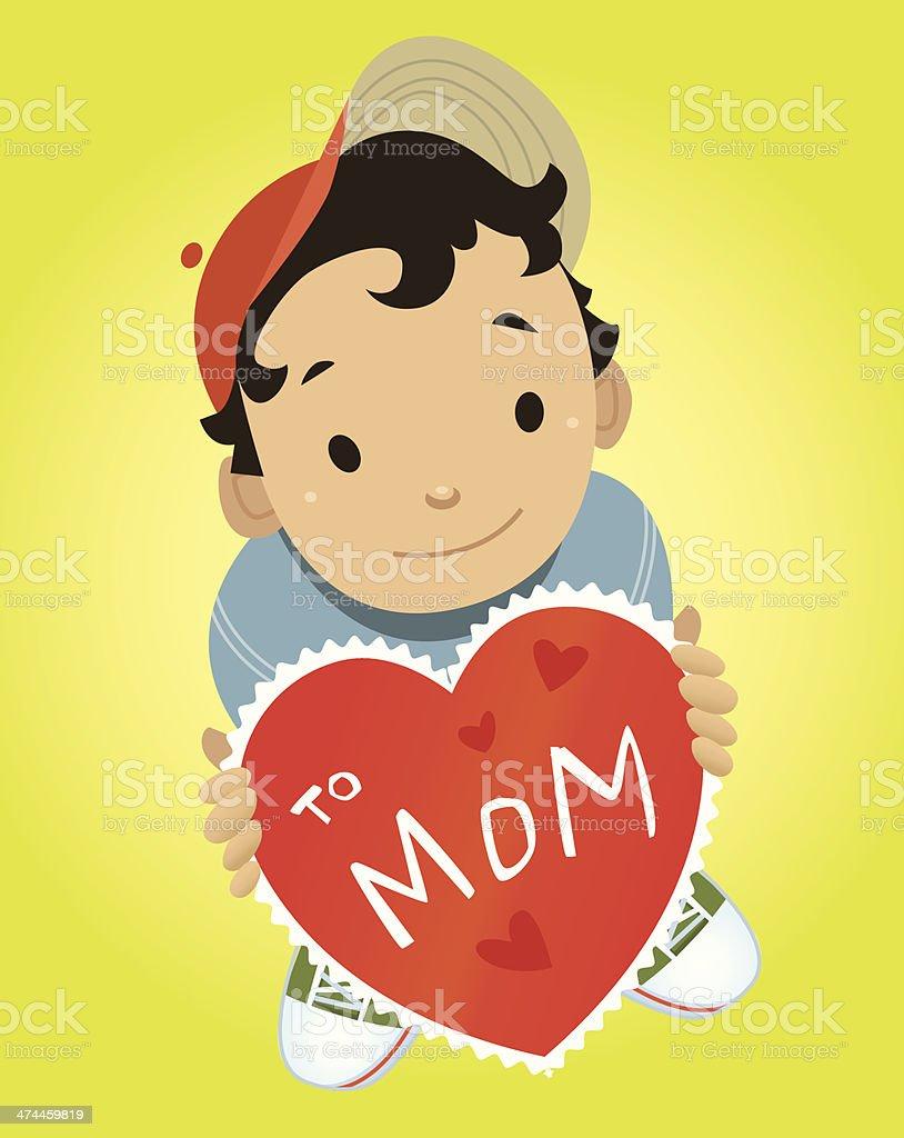 Boy Mom Valentine C vector art illustration