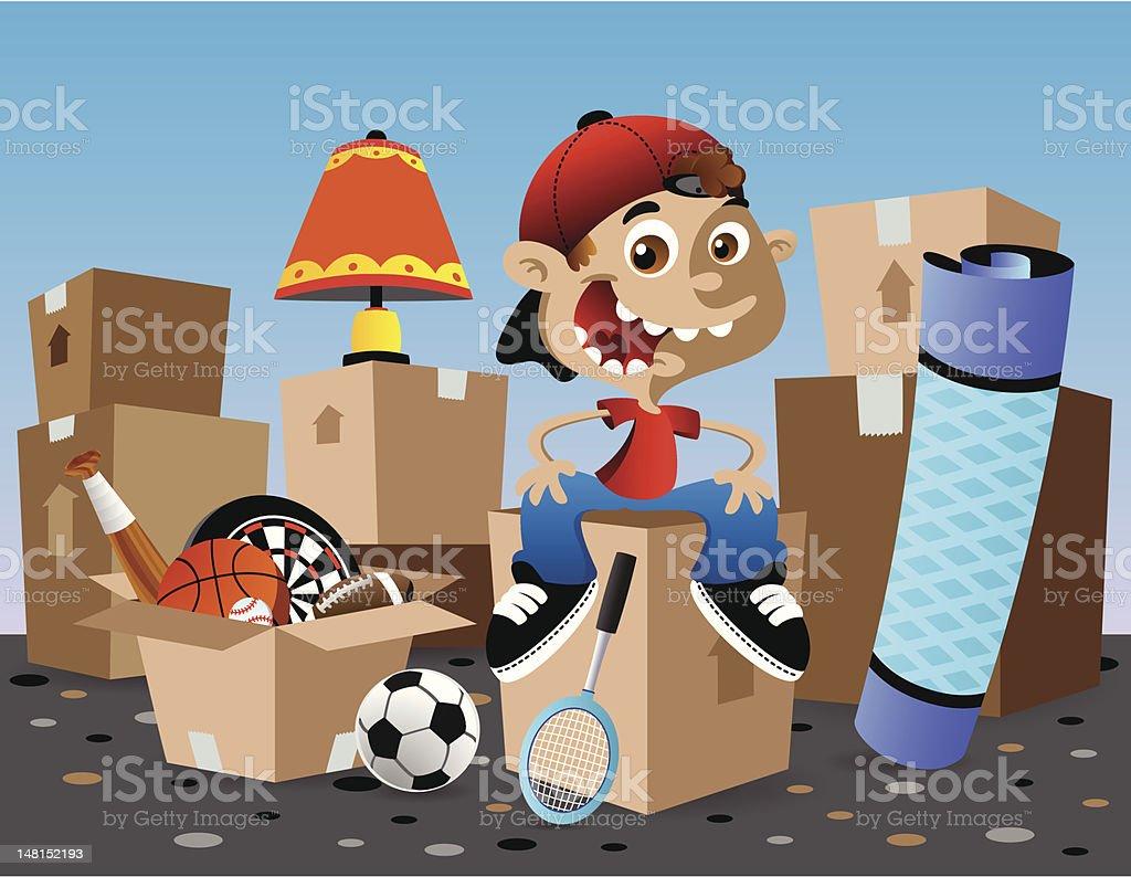 Boy Moving vector art illustration