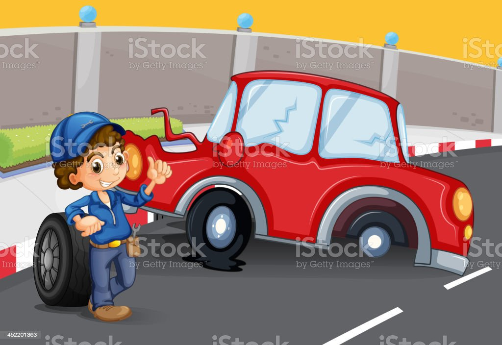 boy near  car accident at the road royalty-free stock vector art