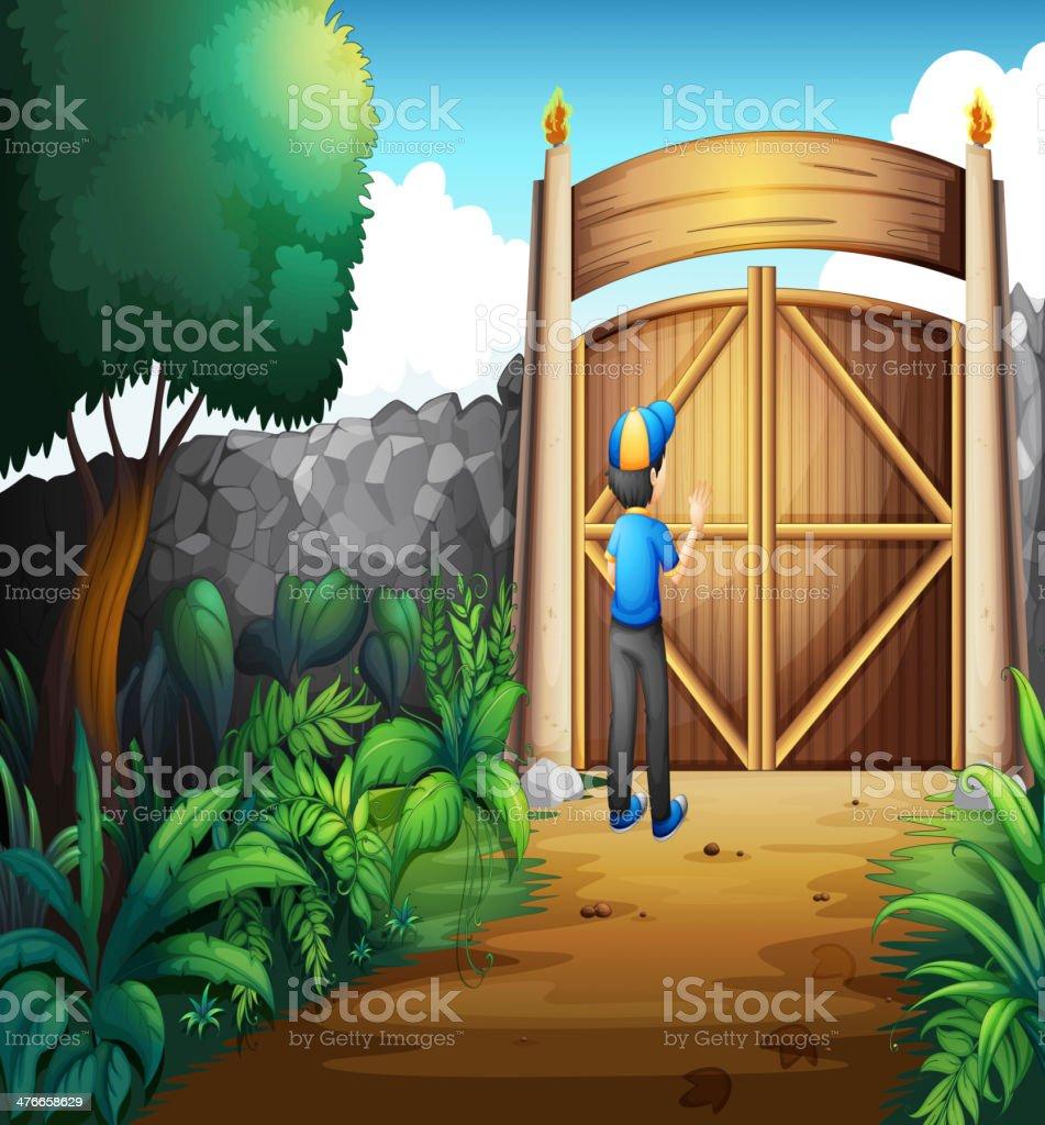 boy near the gate royalty-free stock vector art