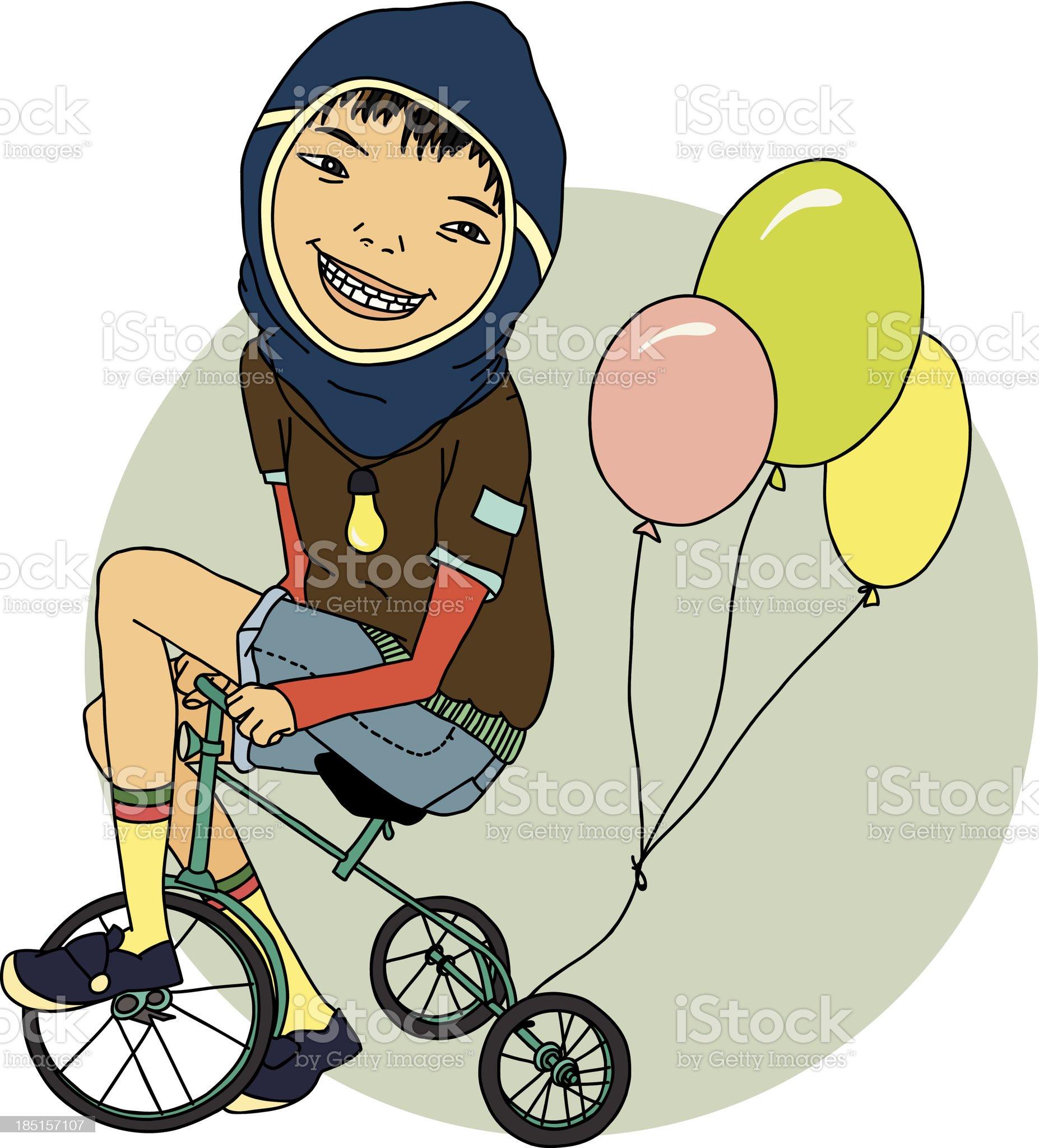 Boy on a bike royalty-free stock vector art