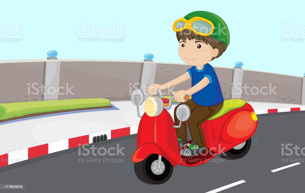 Boy on a scooter royalty-free stock vector art