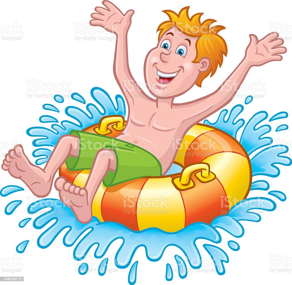 Boy On An Inner Tube In the Water vector art illustration