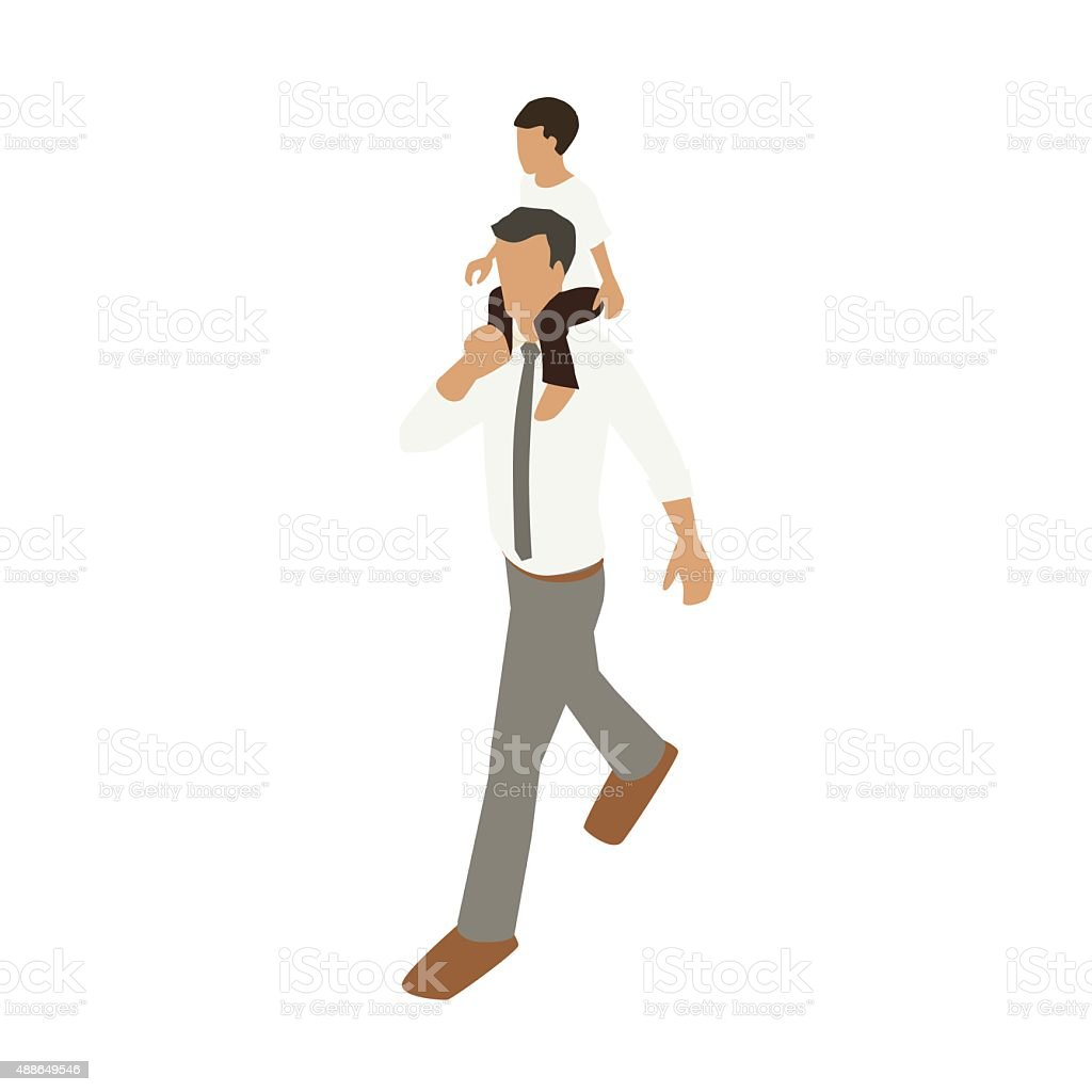 Boy on father's shoulders illustration vector art illustration