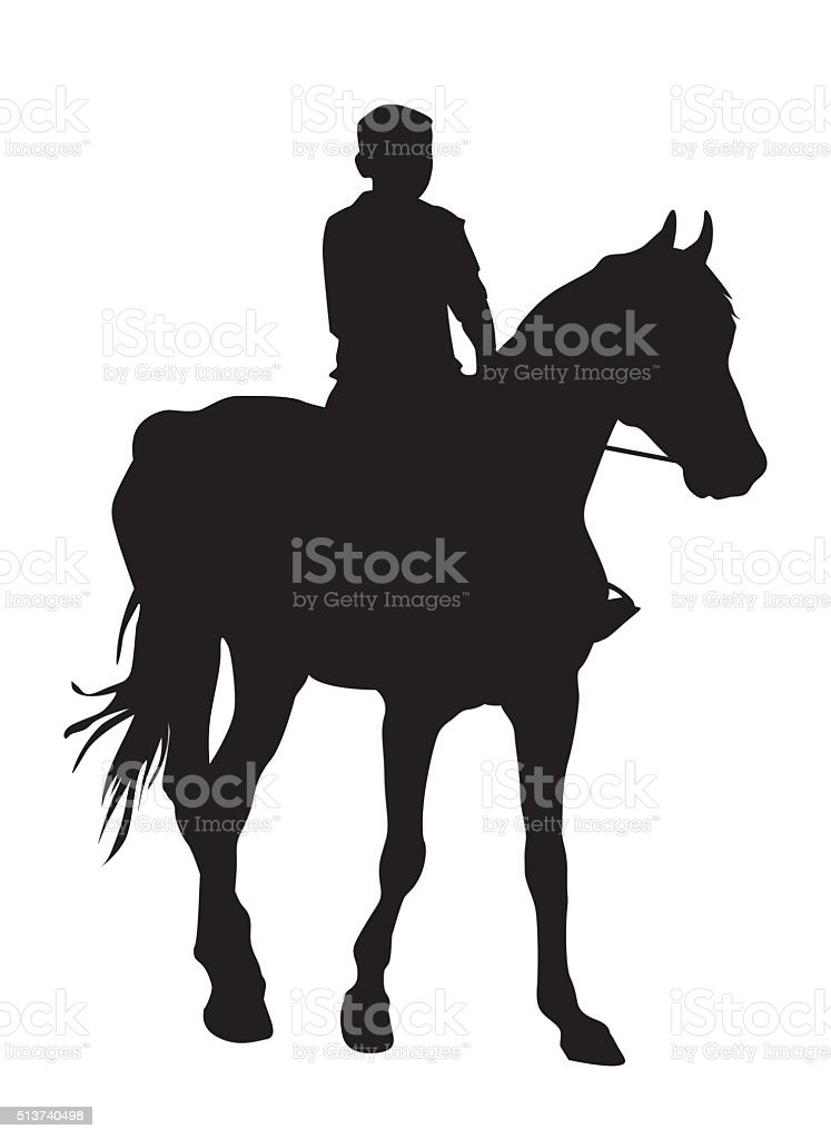 Boy on horse vector art illustration