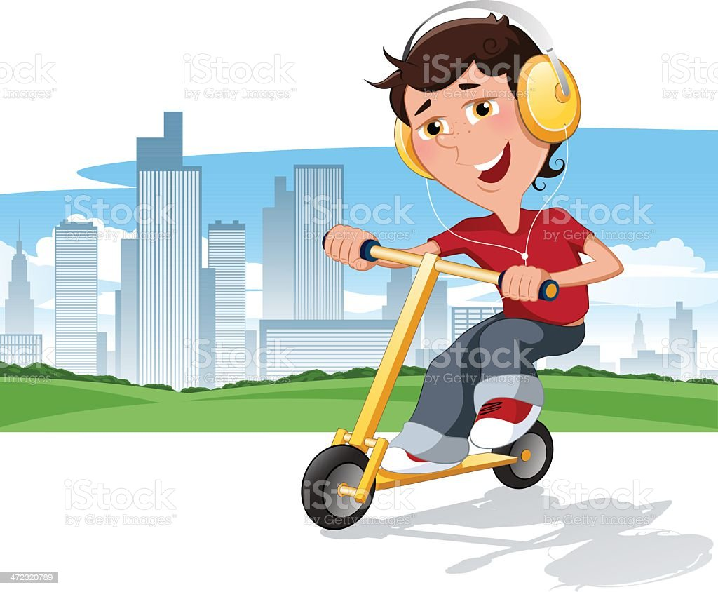 Boy on push scooter royalty-free stock vector art