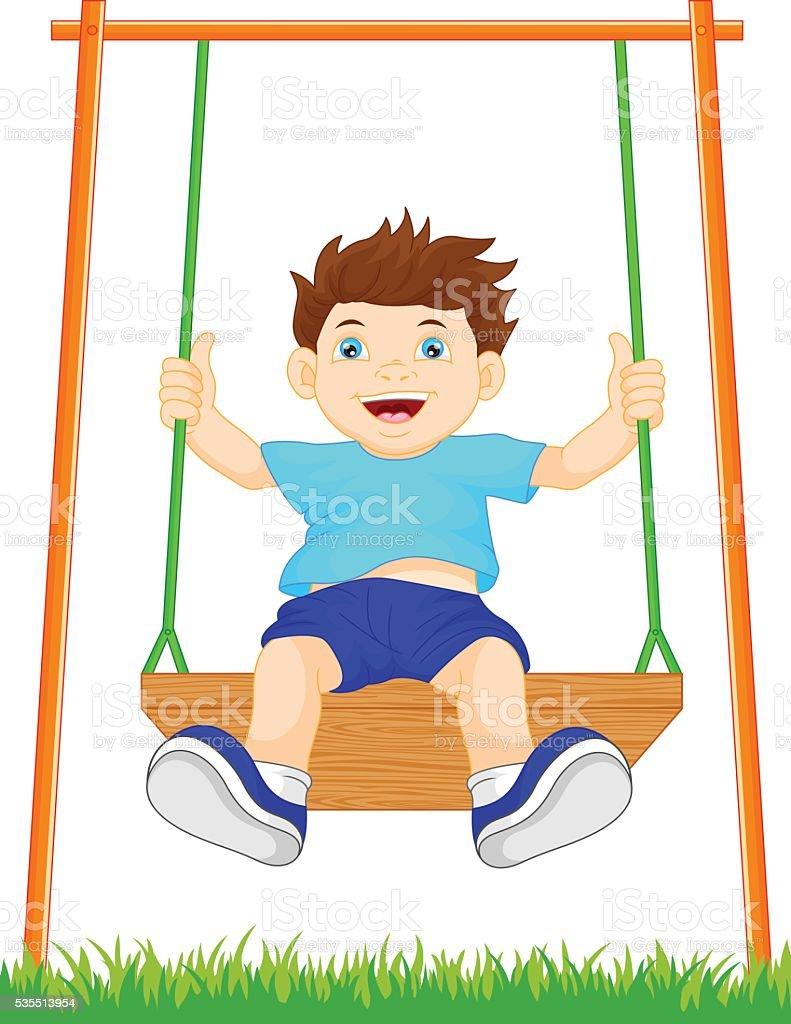 boy on swing in the park vector art illustration
