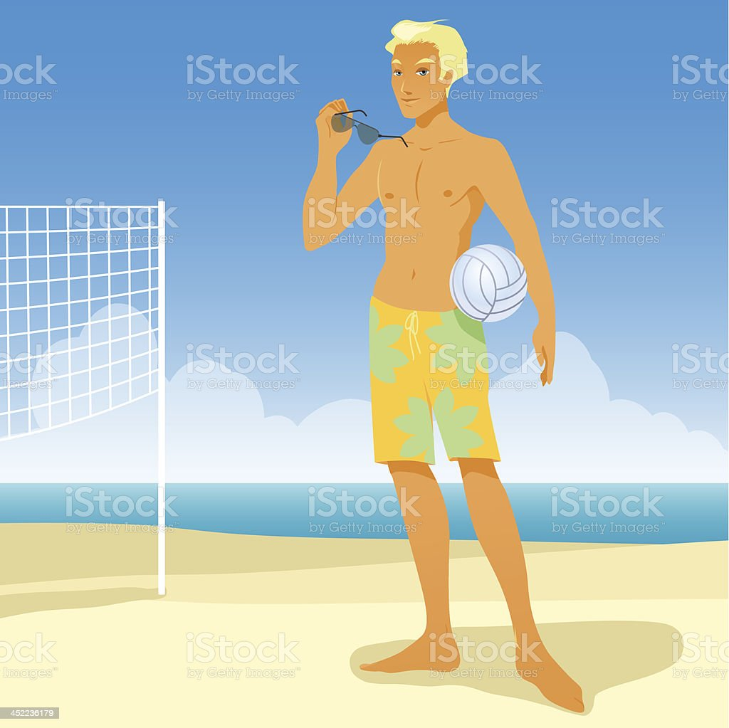 boy on the beach play in volleyball royalty-free stock vector art