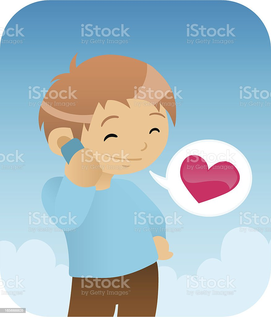 Boy On the Phone royalty-free stock vector art