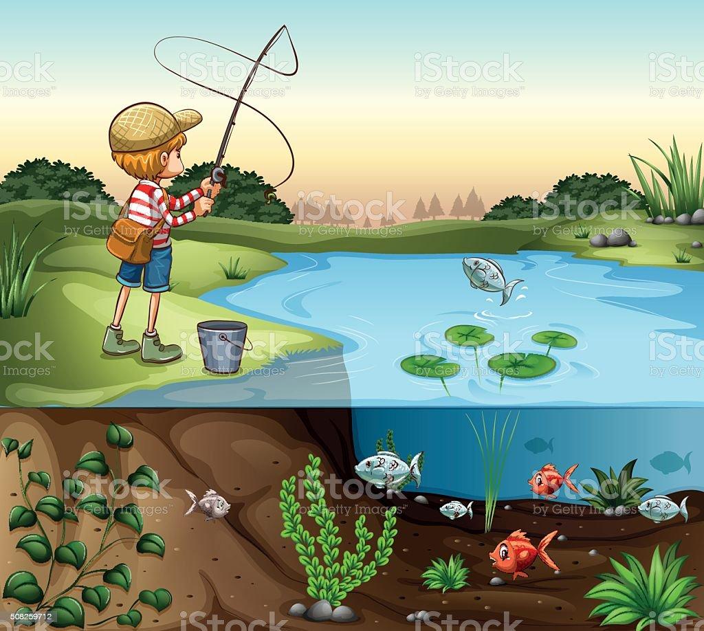 Boy on the river bank fishing alone vector art illustration