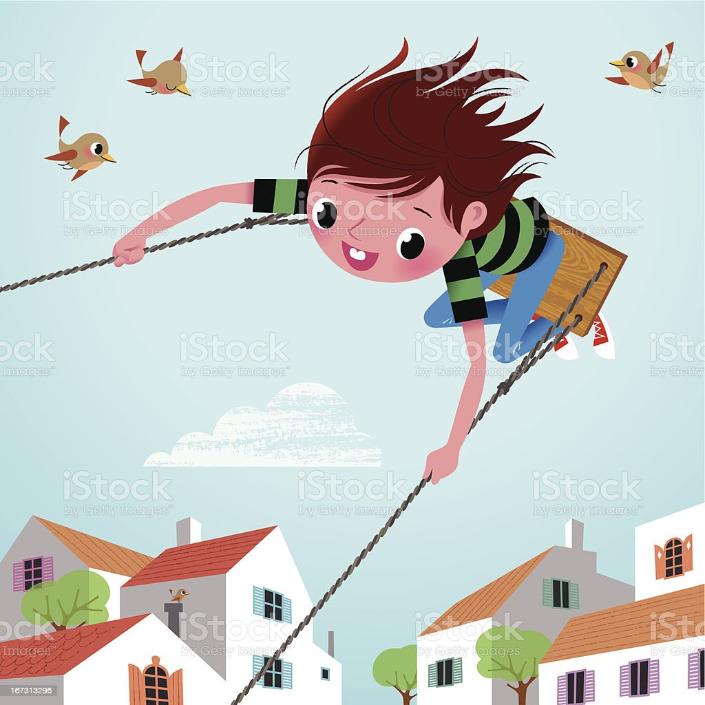 Boy on the Swing. vector art illustration