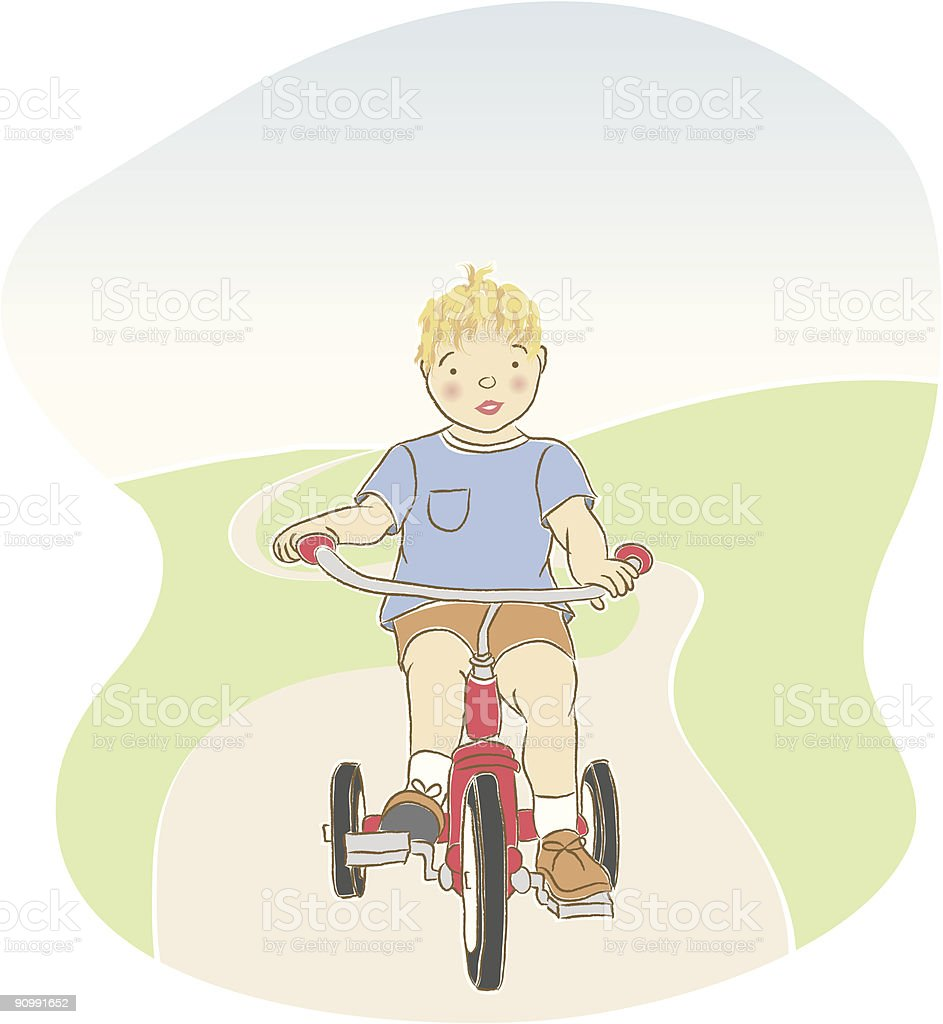 boy on tricycle royalty-free stock vector art