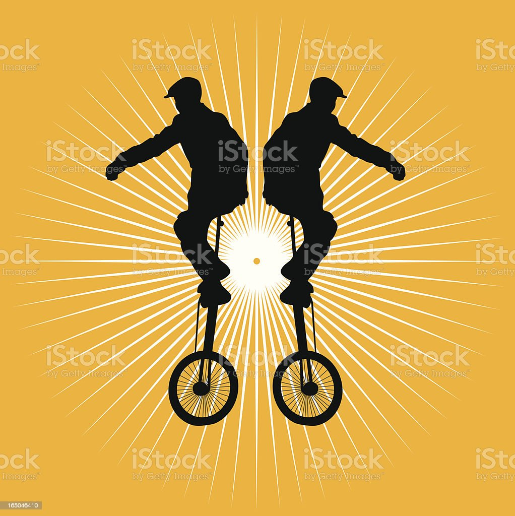 Boy on unicycle vector art illustration