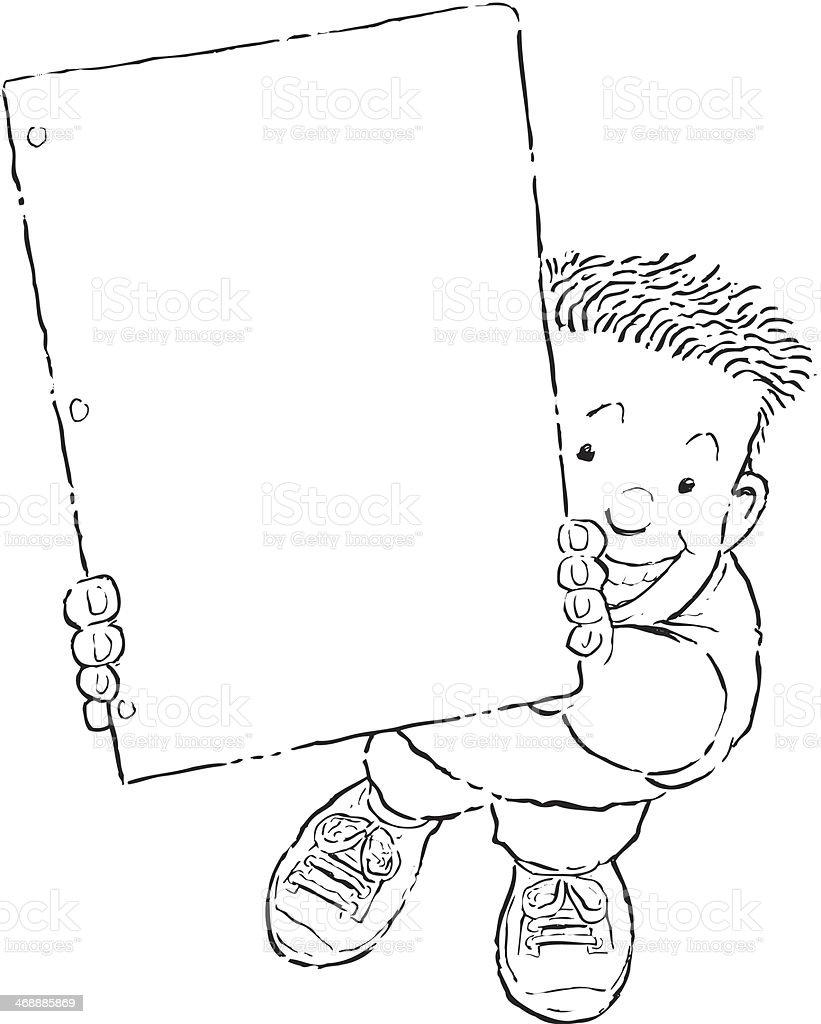 Boy Paper Mortice vector art illustration