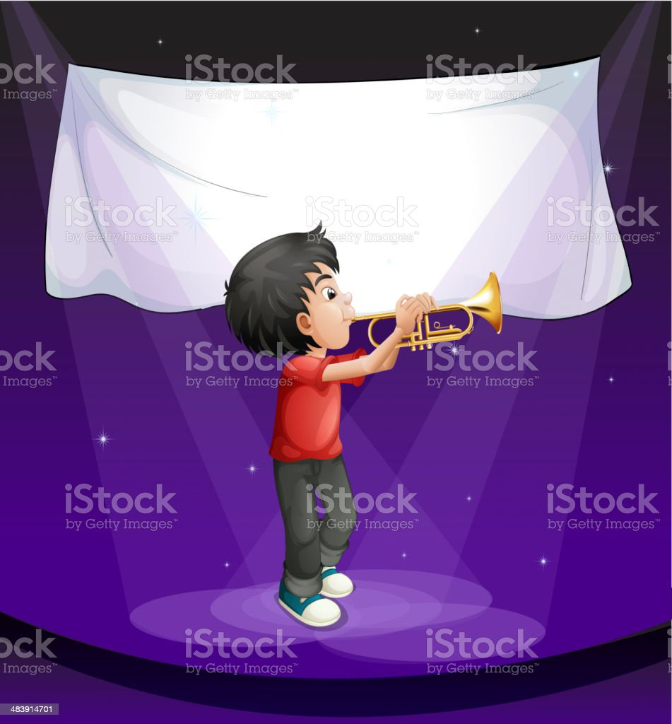 boy performing at the stage with an empty banner royalty-free stock vector art
