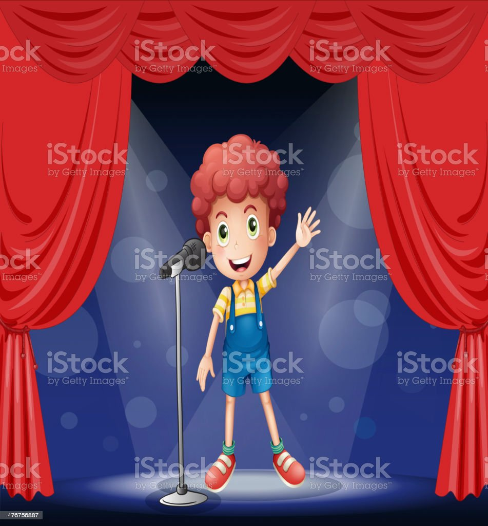 Boy performing on the stage royalty-free stock vector art
