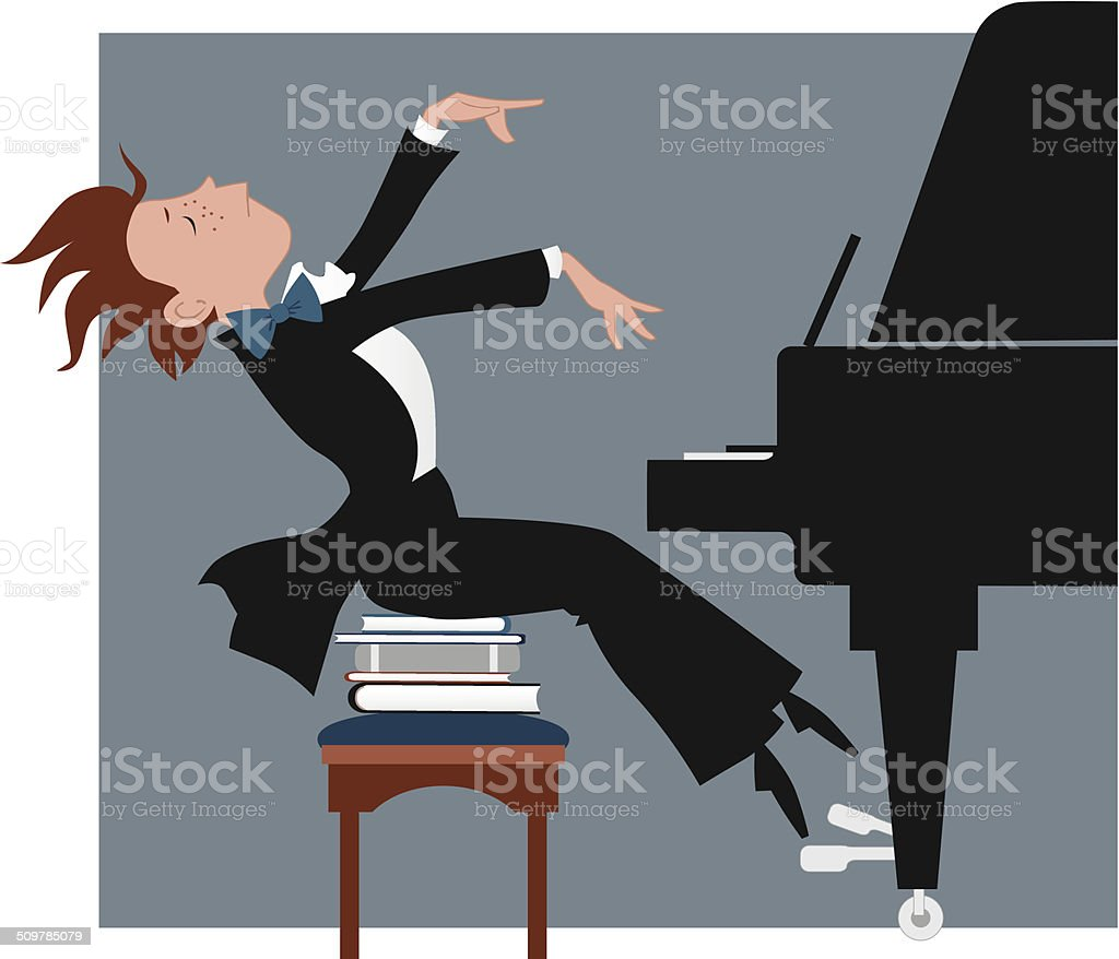 Boy playing a piano vector art illustration