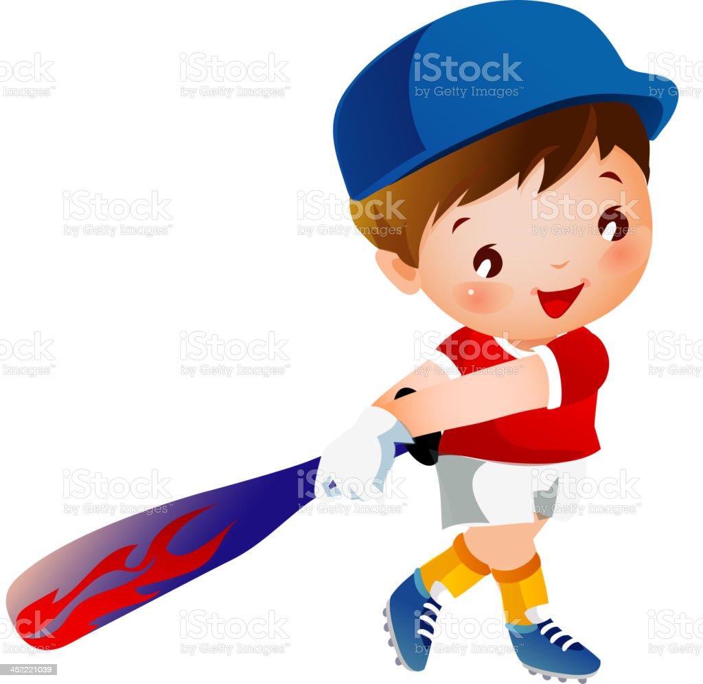 Boy playing baseball royalty-free stock vector art