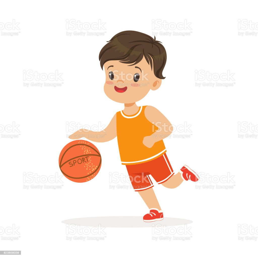 boy playing basketball player is moving dribble colorful character