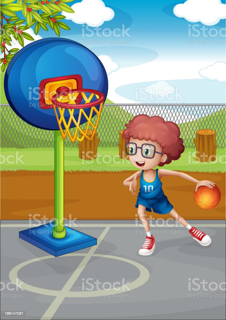 Boy playing basketball vector art illustration
