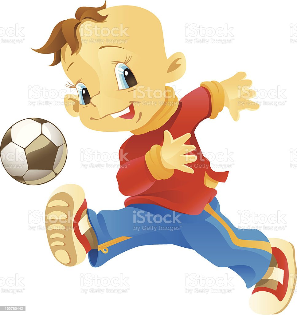 boy playing football royalty-free stock vector art