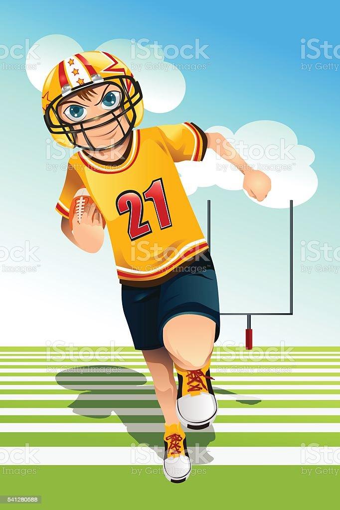 Boy playing football vector art illustration