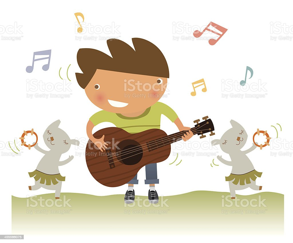 Boy playing guitar royalty-free stock vector art