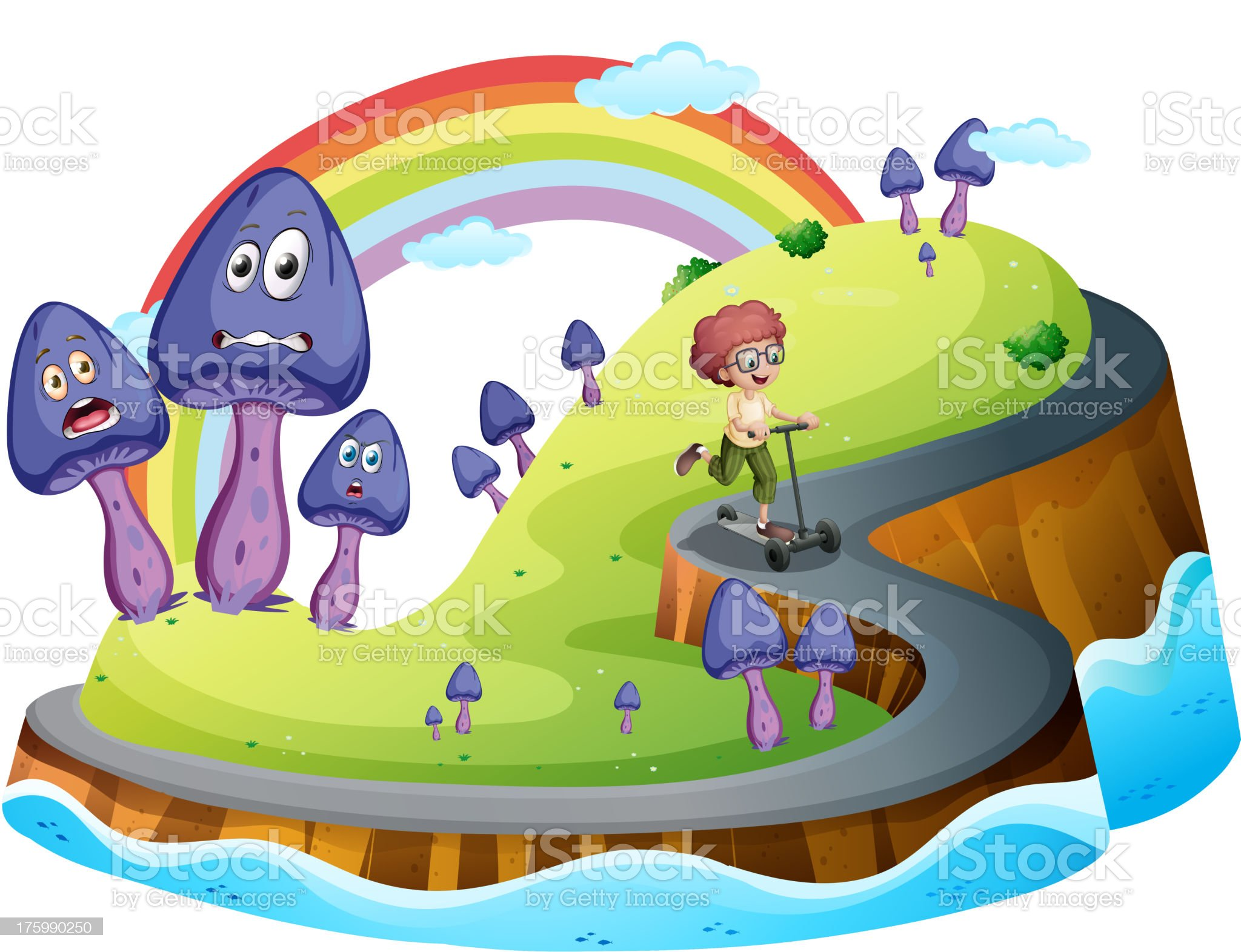 Boy playing his scooter at road surrounded with mushroom plants royalty-free stock vector art