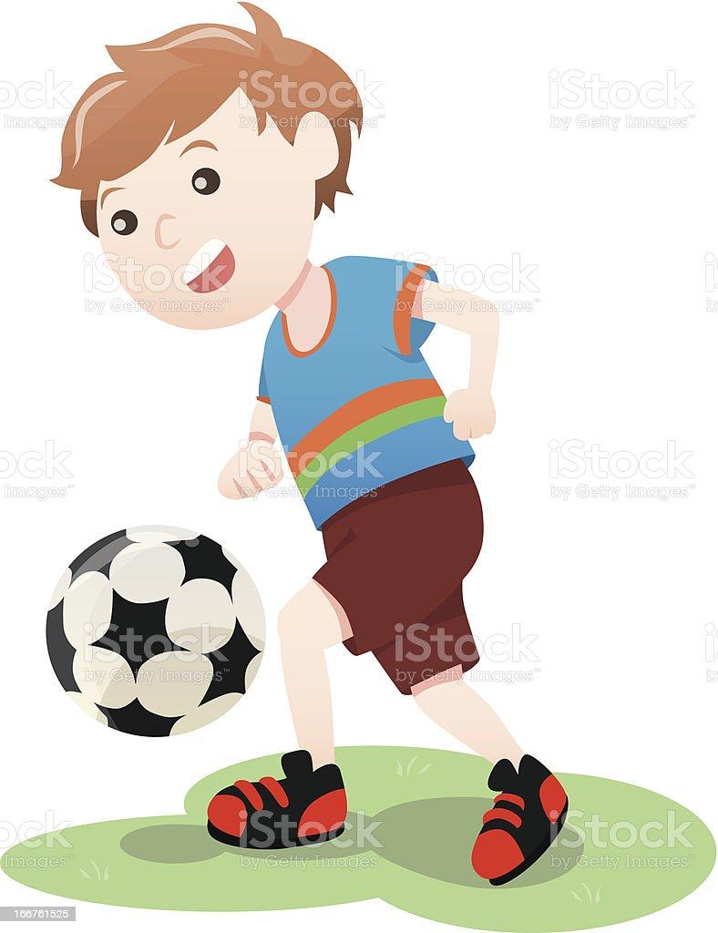 Boy playing soccer ball cartoon vector royalty-free stock vector art