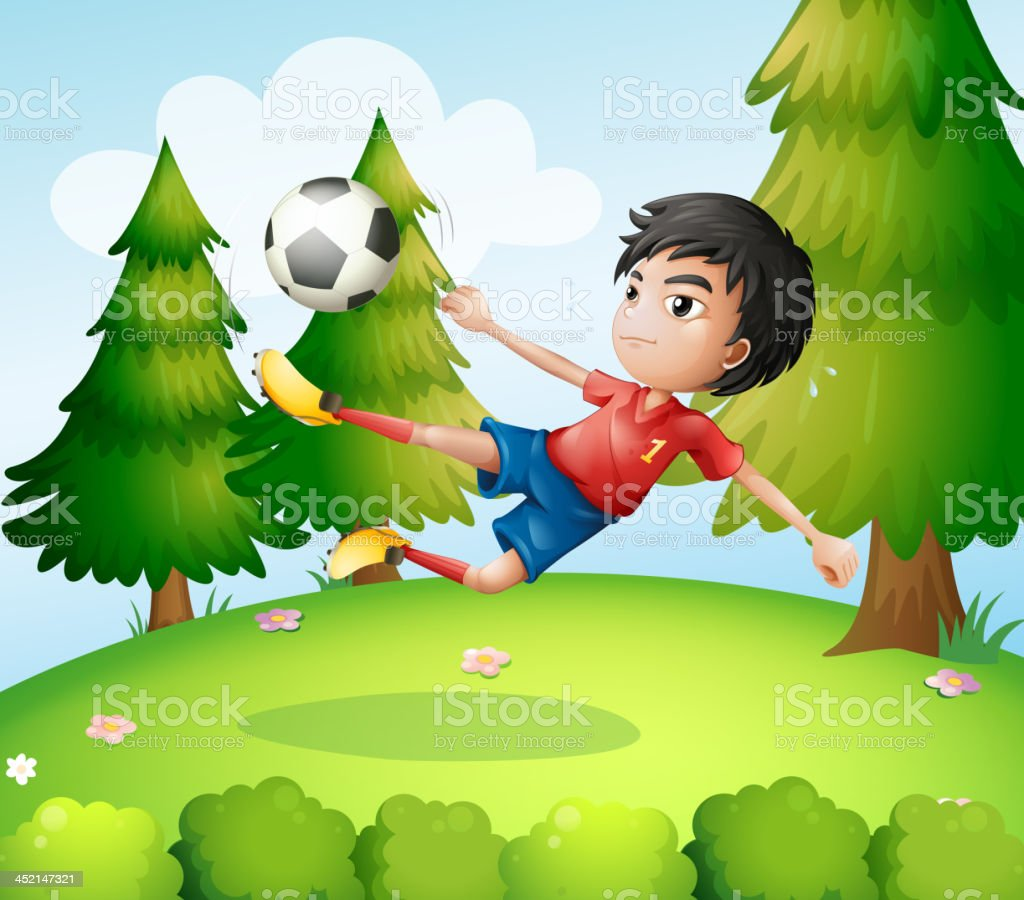 boy playing soccer near the pine trees royalty-free stock vector art