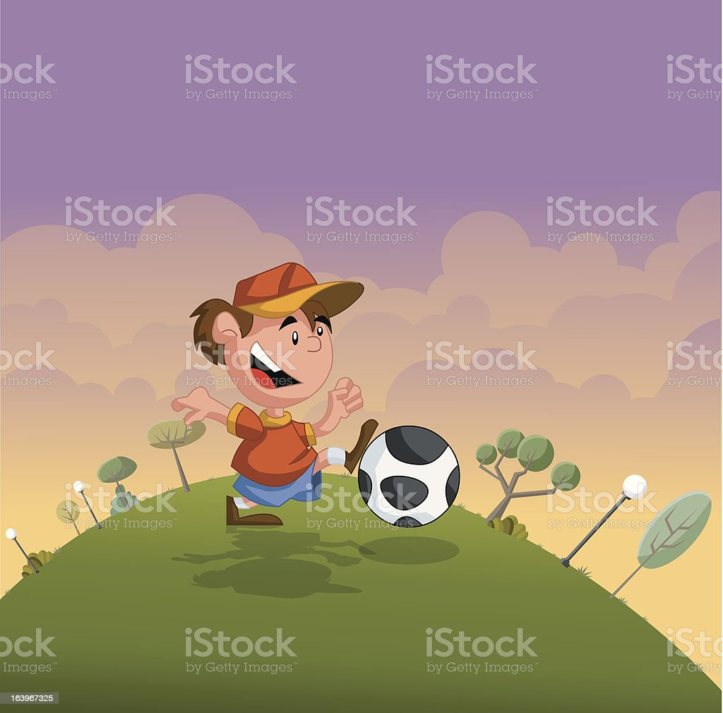 boy playing soccer royalty-free stock vector art
