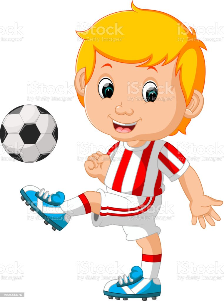 boy playing soccer vector art illustration