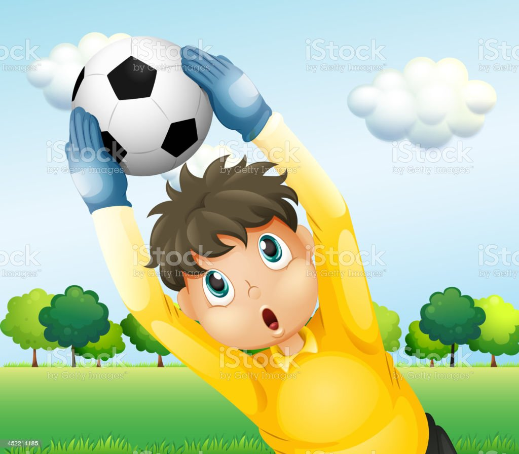 boy playing soccer with a yellow uniform royalty-free stock vector art
